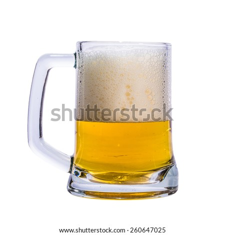 A mug of beer on white background.