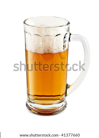 A mug of beer with froth on white background