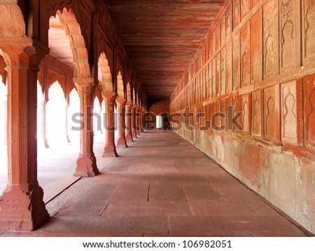 A Mughal passage in the Taj Mahal complex in Agra, India - stock photo