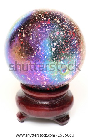 A Multi-Colored Oiled Glass Marble on a Wooden Stand Isolated on White - stock photo