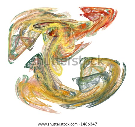 A Multi-Colored Vaporous Smoke Form Rendered on a White Background - stock photo
