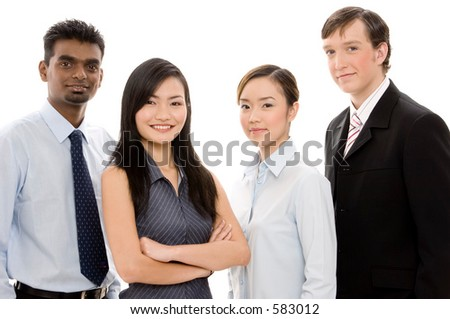 A multi-cultural and multi-ethnic business team of men and women