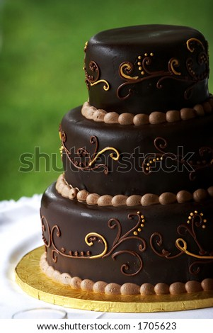 A multi layered chocolate coffee flavored wedding cake with a blurred green background and a detailed design - stock photo