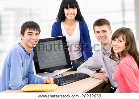 A multi-racial group of College students - stock photo