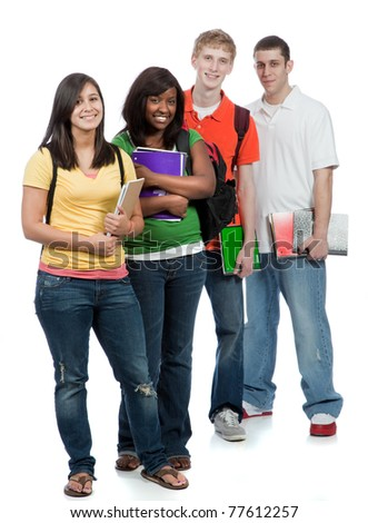 A multi-racial group of College students/friends, male and female - stock photo