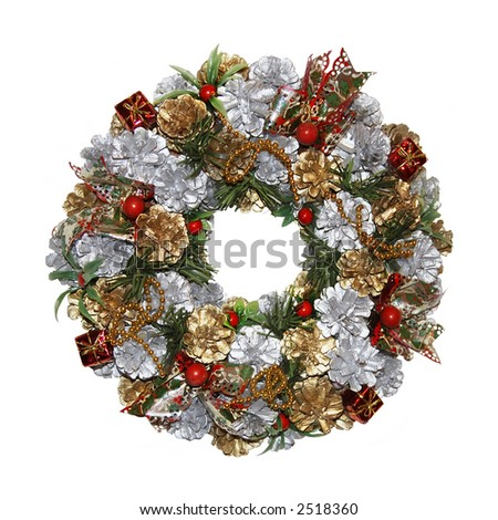 a multifarious and traditional christmas wreath isolated on a white background - stock photo