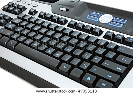 A multifunctional computer keyboard for gamer on white background