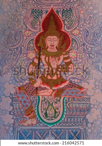 A mural Thai painting in south temple of Thailand. Buddha story.  - stock photo