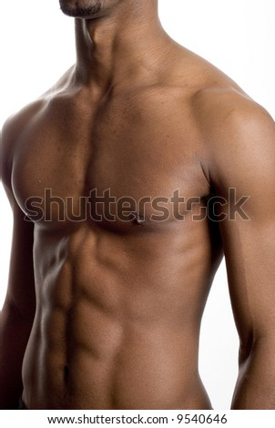 a muscular model is posing against white background