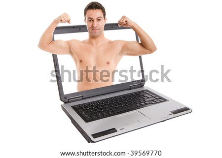 a musculated man coming out of a laptop
