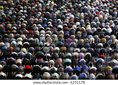 A Muslim Friday mass prayer. - stock photo