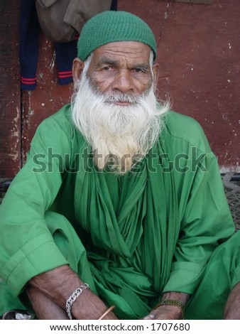 a muslim man posing in india - stock photo