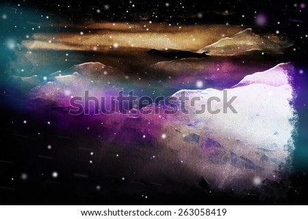 A mysterious far away planet landscape illustration, with stars and vivid lights (mixed media) Science-fiction/space/galaxy travel related. - stock photo