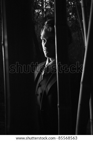 A mysterious man in shadows, black and white - stock photo