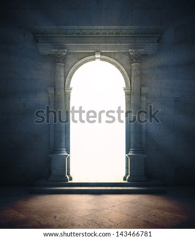 A mysterious portal - an ancient archway - stock photo