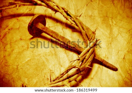 a nail and the Jesus Christ crown of thorns, with a retro filter effect - stock photo