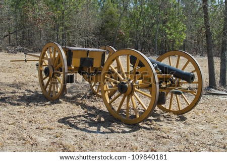A Napoleonic style civil war cannon and cais-son. - stock photo