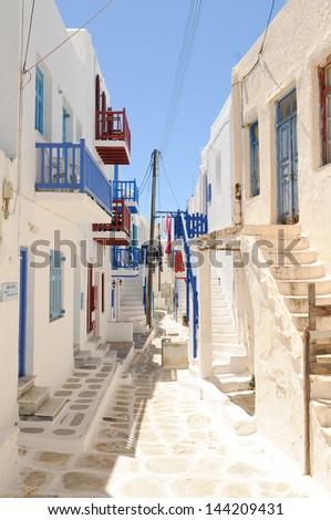 A narrow residential street in Mykonos, Greece - stock photo