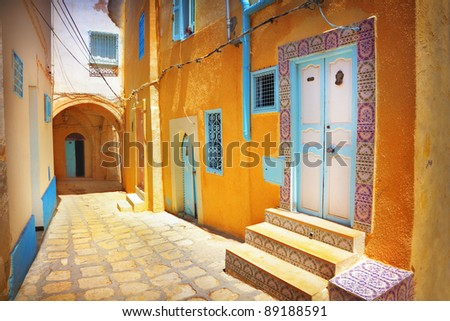 A narrow street in Sousse, Tunisia - stock photo
