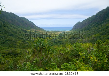 A narrow valley in Oahu. - stock photo
