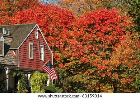 A National Historic Site in Wilton, CT, this is an autumn view of the Visitor?s Center at Weir Farm. The site is popular with artists and also has beautiful hiking trails. - stock photo