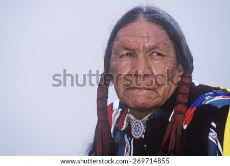 A Native American Cherokee elder at an Intertribal Powwow, Ojai, CA - stock photo