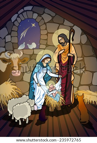 A nativity scene, creche, or crib, is a depiction of the birth of Jesus - stock photo