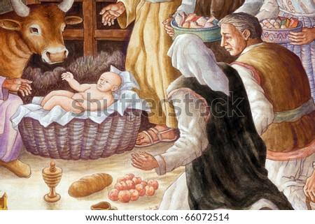 A nativity scene, creche, or crib, is a depiction of the birth of Jesus - stock photo