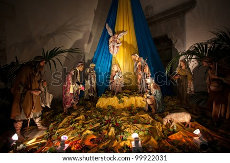 A nativity scene in The Cathedral-Basilica of Cefalu.