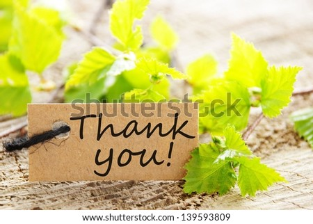 a natural looking label with thank you and green leaves and wood as background - stock photo