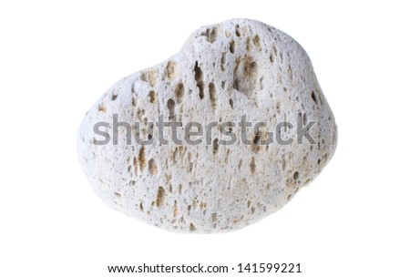 A natural piece of pumice stone isolated on white background. - stock photo
