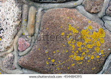 A natural surface of a stone covered by yellow lichen. - stock photo