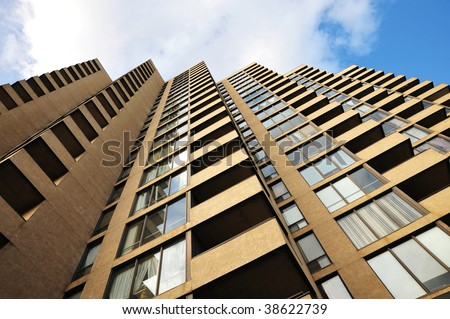 A neat high rise apartment building in downtown edmonton, alberta, canada - stock photo
