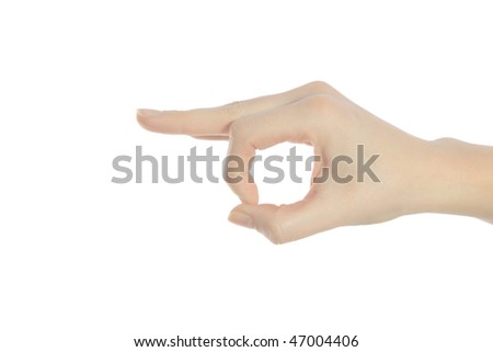 A neat human hand making a gesture. All isolated on white background