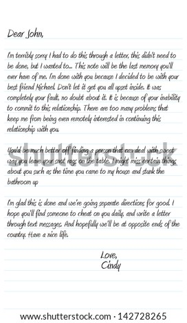 dear husband letter neatly written sample dear letter stock vector 21317 | stock photo a neatly written sample dear john letter in vector format that a woman wrote to break up with her 142728265