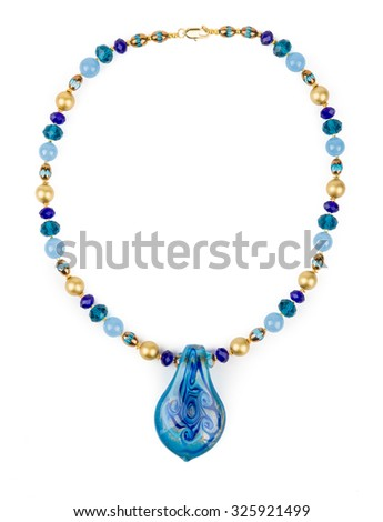 A necklace with big murano glass piece on white background. - stock photo