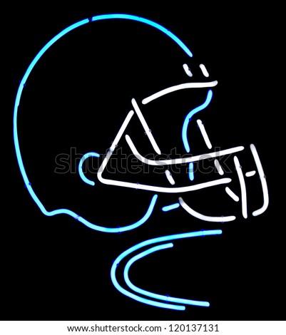 A neon American football helmet - stock photo