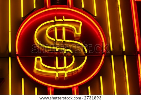 A neon dollar sign, on a striped neon background. - stock photo