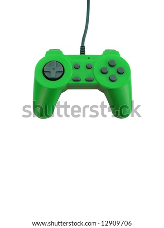 A neon green game controller isolated over white with plenty of copyspace.  This file includes the clipping path. - stock photo