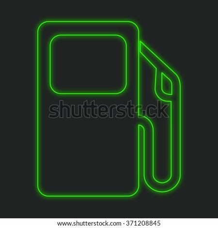 A Neon Icon Isolated on a Black Background - Petrol Pump