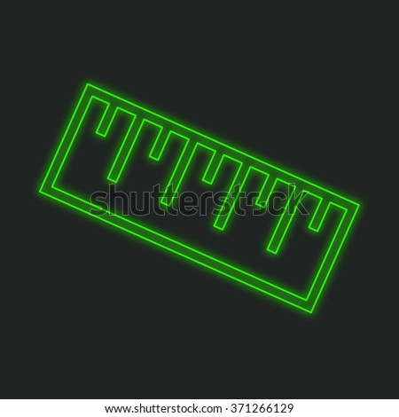 A Neon Icon Isolated on a Black Background - Ruler