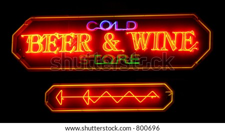"a neon sign ""beer and wine"" - stock photo"