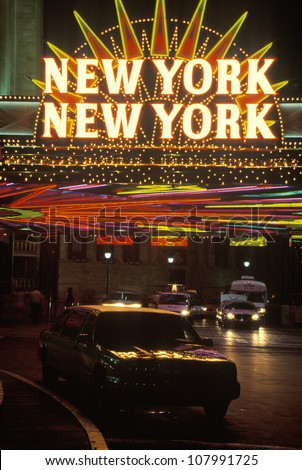 A neon sign New York, New York� at the hotel and casino in Las Vegas, Nevada - stock photo