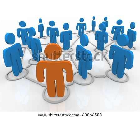 A network of people linked together with connections - stock photo