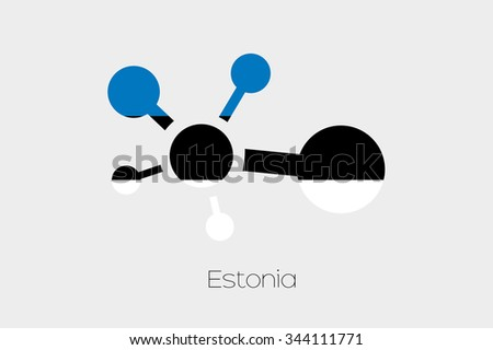 A Networking Icon with the Flag of Estonia - stock photo