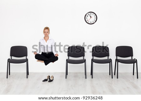 A new approach - business woman reinventing herself - stock photo