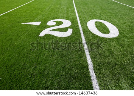 A new astro turf foot ball field - stock photo