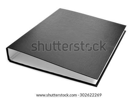 a new black ring binder on a white background - stock photo