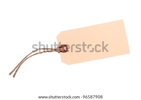 A new, blank price tag with twine isolated on white