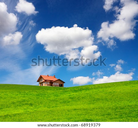 A new brick house in springtime - stock photo